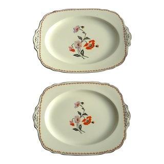 Art Deco Poppy Serving Platters- Set of 2