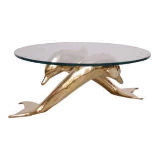 Brass Coffee Table in Form of Two Dolphins