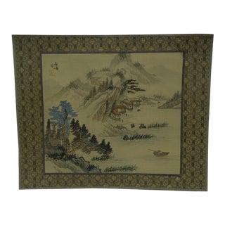 "Vintage ""Fishing"" Print on Silk"