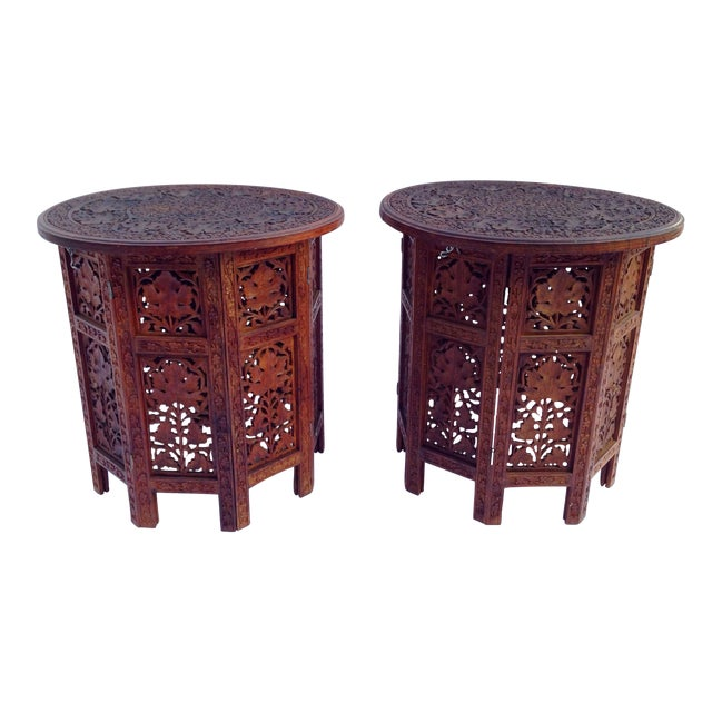 Anglo-Indian Rosewood Elaborately Carved Tables - Pair - Image 1 of 6