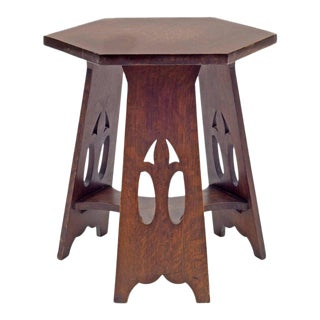 Stickley Brothers Quaint Furniture Co. Hexagonal Oak Taboret Table, Usa, 1900s