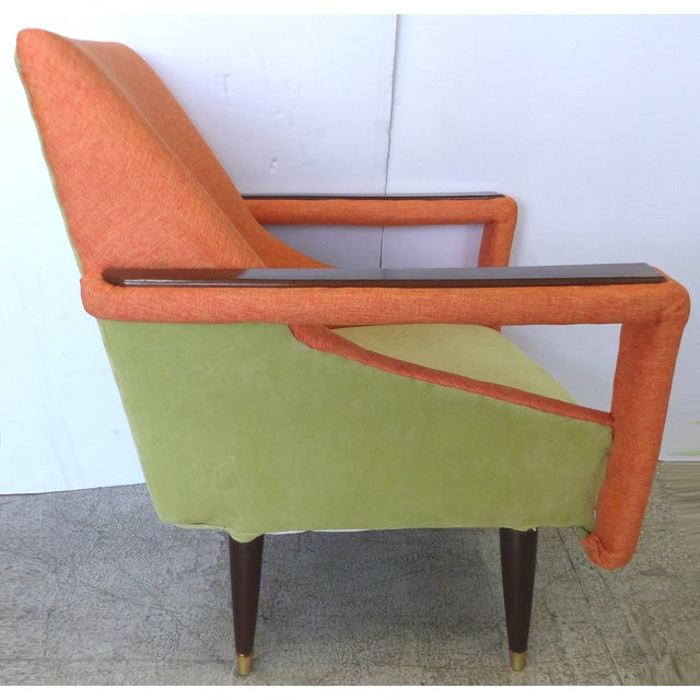 Image of Angled Mid-Century Modern Club Chairs - Pair