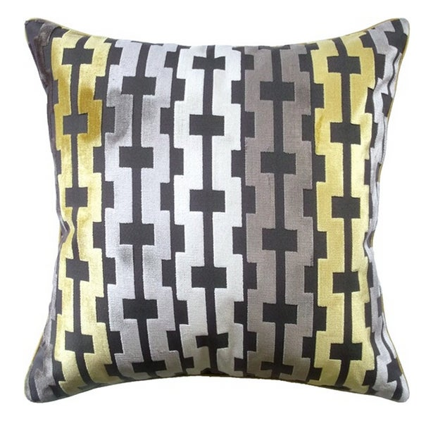 Velvet Geometric Accent Pillows - A Pair - Image 1 of 3
