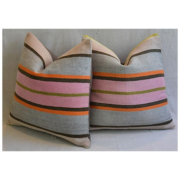"""20"""" Custom Tailored Anatolian Turkish Kilim Wool Feather/Down Pillows - a Pair - Image 7 of 11"""