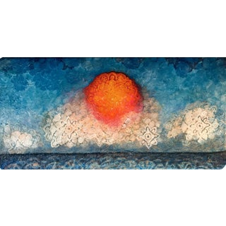 Stenciled Sunset Acrylic Painting