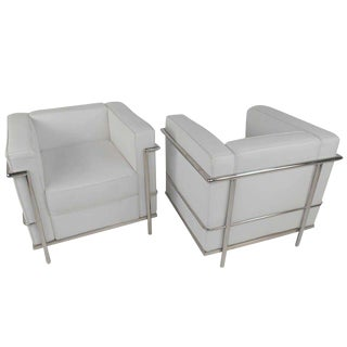 Mid-Century Le Corbusier Style Leather and Chrome Lounge Chairs - A Pair