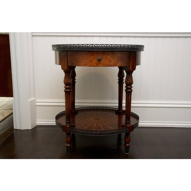 Round End Table With Inlay & Decorative Metal Edge - Image 2 of 5
