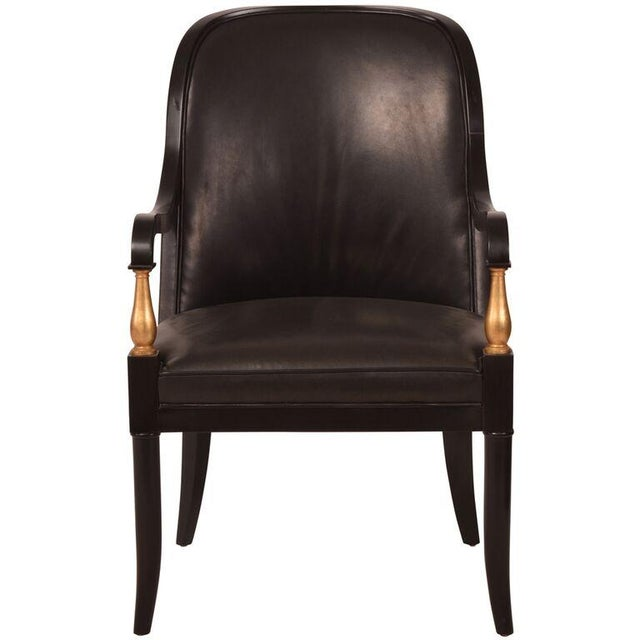 Image of Andre Arbus Baker Leather Arm Chairs - A Pair