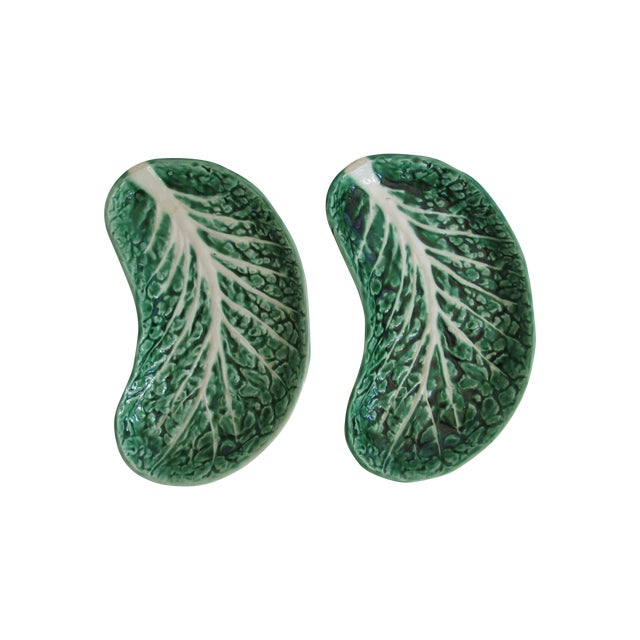 Image of Majolica Leaf Plates- Pair