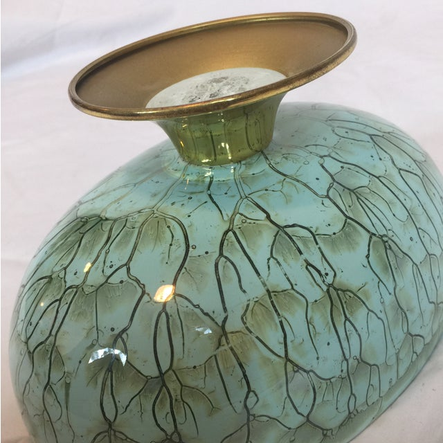 Image of Delft Vintage Turquoise & Gold Footed Bowl