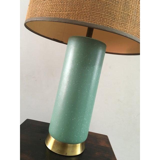 Image of Mid-Century Turquoise Ceramic Table Lamp