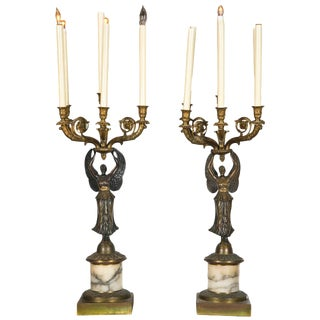 Antique Neoclassical Bronze Candelabras - A Pair