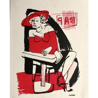 """Mid Century """"Night on the Town"""" Lithograph"""