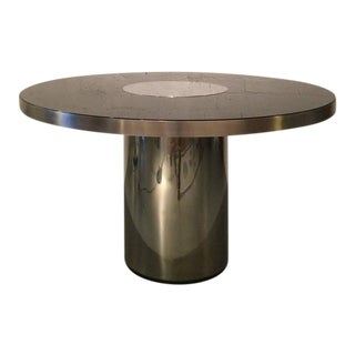 Stainless Steel and Glass Dining Table by Willy Rizzo