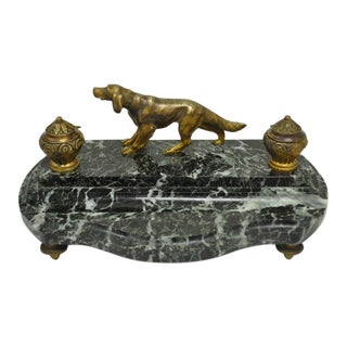 Antique French Empire Figural Bronze Hunting Dog & Marble Double Desk Inkwell