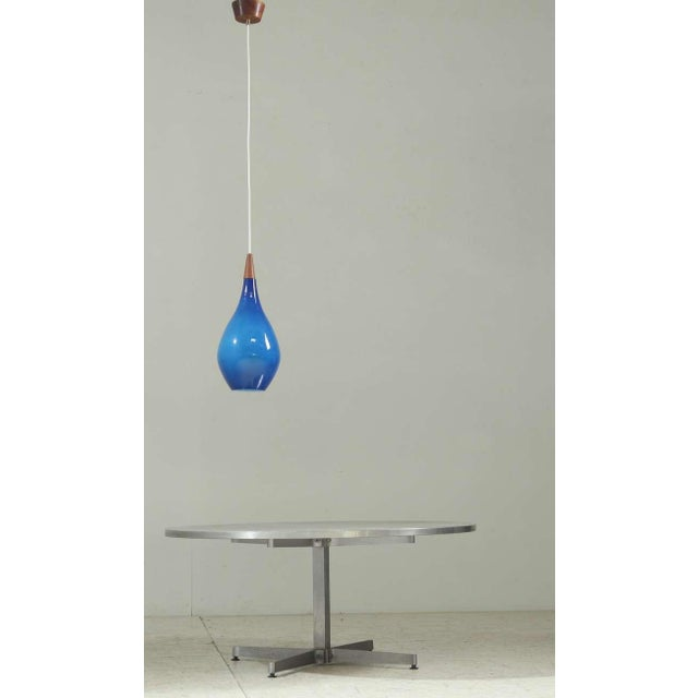 Image of Large Sapphire Blue Glass Drop Shaped Holmegaard Pendant. Denmark, 1950s