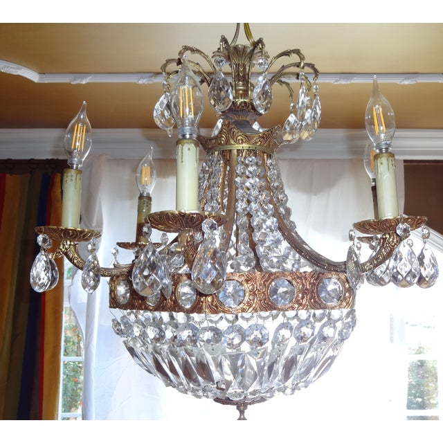 French Crystal Empire Style Chandelier - Image 7 of 8