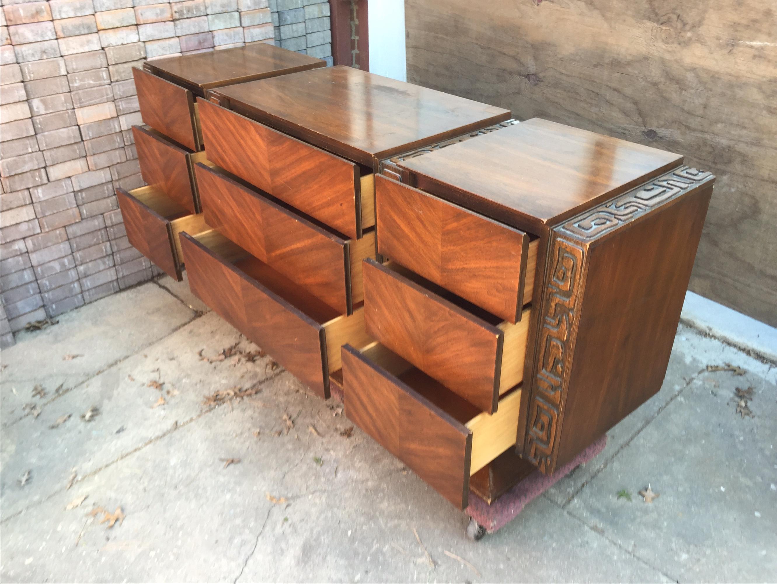 United Furniture Vintage 1970s Brutalist Dresser   Image 4 Of 5