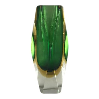 Mid Century Modern Murano Sommerso Faceted Glass Vase