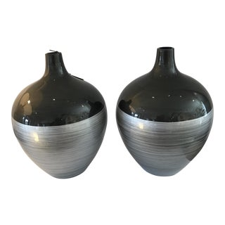 Glass Painted Vases - A Pair