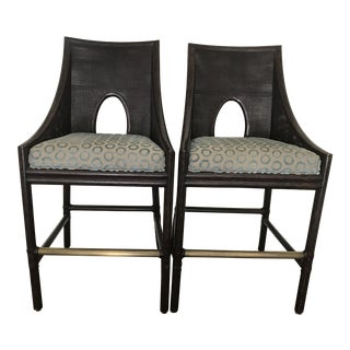 McGuire Furniture Barbara Berry Caned Counter Stools - Pair