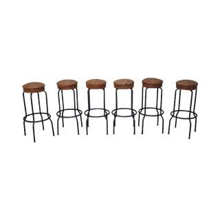 Rattan Seat Metal Frame Bar Stools - Set of 6