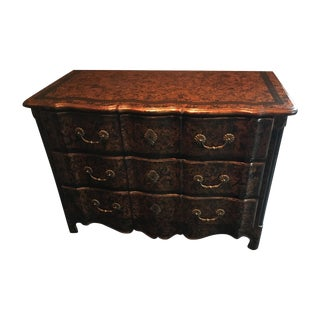 Embossed Leather Serpentine Chest of Drawers