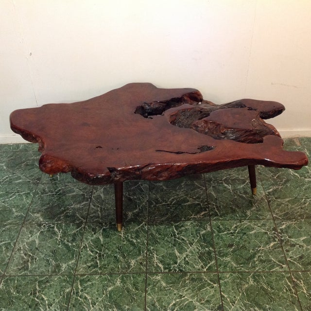 Redwood Coffee Table: Vintage Redwood Burl Coffee Table