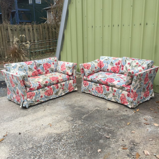 Vintage Mid-Century Modern Floral Love Seats - a Pair - Image 11 of 11