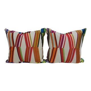 Multicolored Print Pillows - A Pair