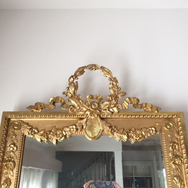 1915 Antique Guilt Wall Mirror & Console Table Set - Image 9 of 11