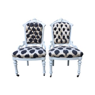 Madeline Weinrib Louis Style Ikat Chairs - A Pair