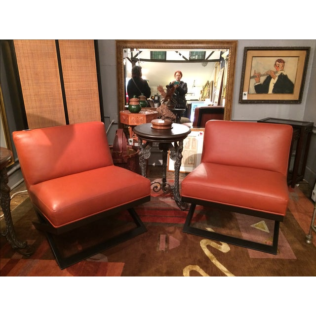 Leather & Ebonized Wood Club Chairs - A Pair - Image 2 of 5