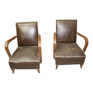 Circa 1940 French Art Deco Walnut Club Chairs - A Pair