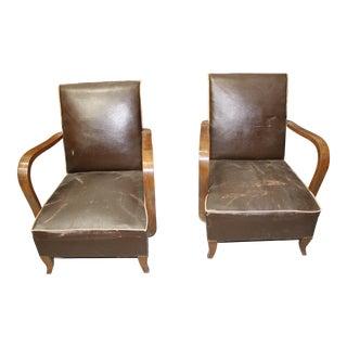 Circa 1940 French Art Deco Walnut Club Chairs - A Pair