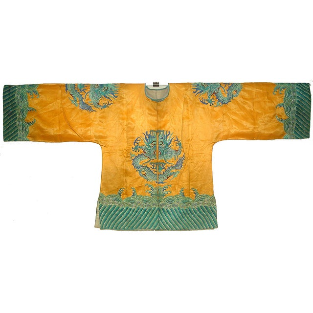 Image of Vintage Chinese Short Orange Embroidered Silk Coat