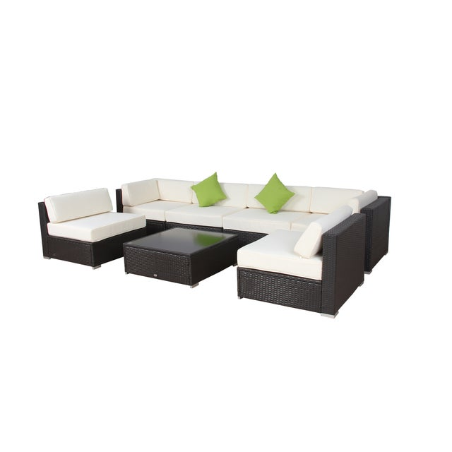 Modern Patio Rattan Sectional - Set of 7 - Image 4 of 7