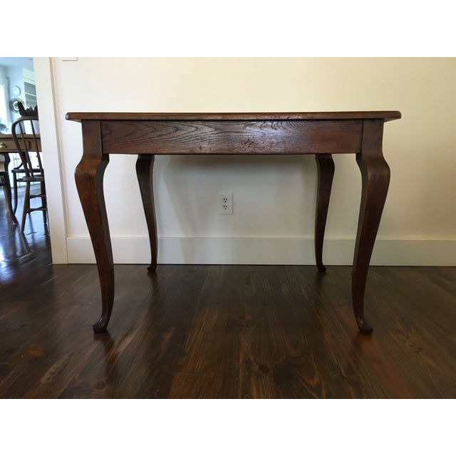 Antique Oak Cabriole Leg Farm Table - Image 3 of 8