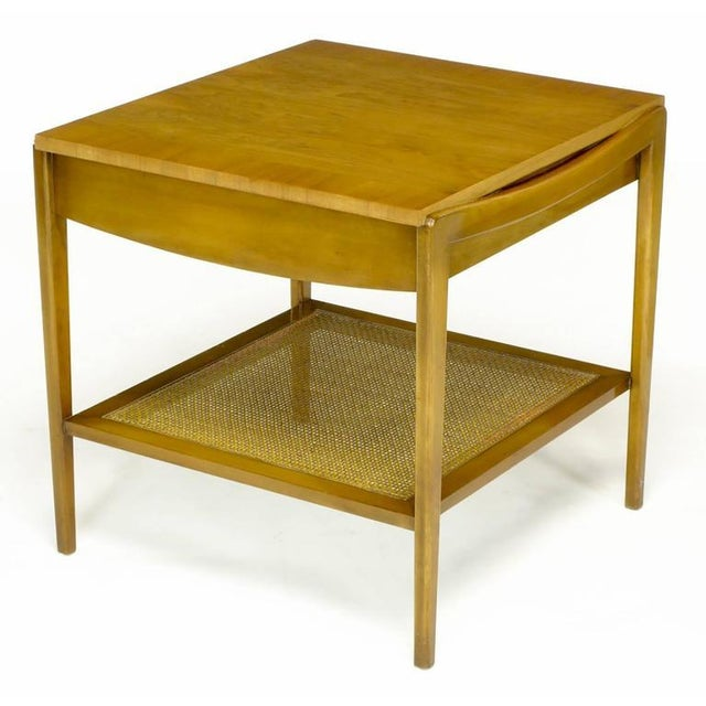 Pair Widdicomb Bleached Walnut & Cane Single Drawer End Tables - Image 7 of 10