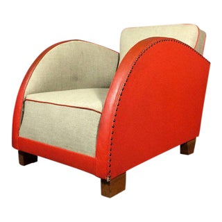 1930s Art Deco Club Chair, in Early Original Naugahyde