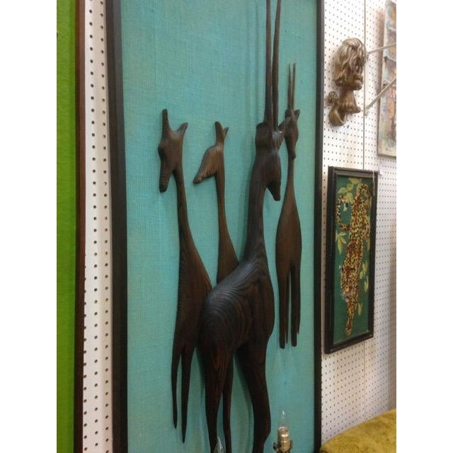 Carved and Media Blasted Wood Relief Gazelles - Image 3 of 3