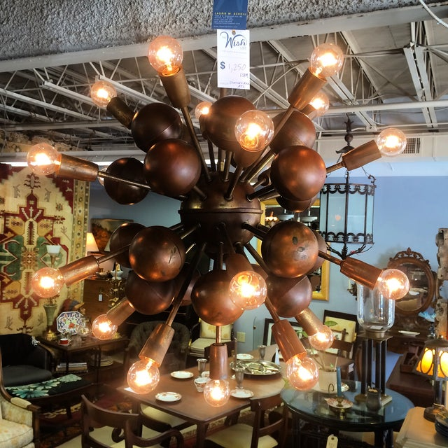 Vintage Brass Sputnik 20 Light Chandelier - Image 6 of 8