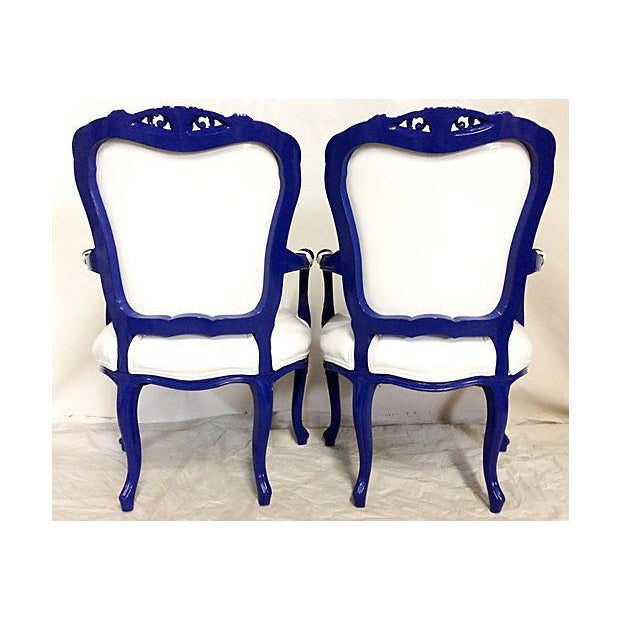 Vintage French-Style Lacquer Armchairs - Pair - Image 4 of 7