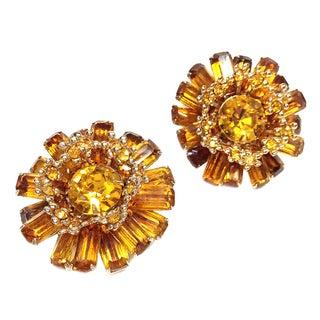 Goldtone & Amber Rhinestone Earrings