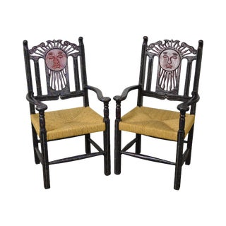 Mexican Sun Gods Carved Rush Seat Arm Chairs - A Pair