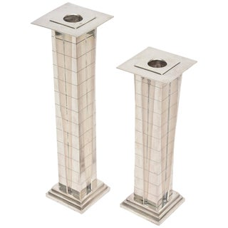 "Pair of Silver Plate Deco Style ""Skyscraper"" Candlesticks"