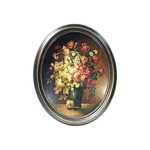 Antique Oval Roses Oil Painting on Wood - Image 2 of 2