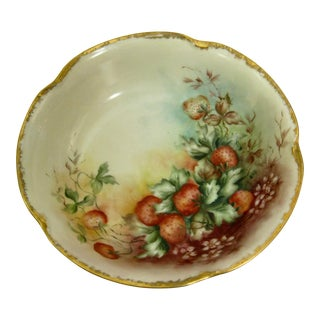 Antique Bavarian Strawberry Hand Painted Gilded Bowl