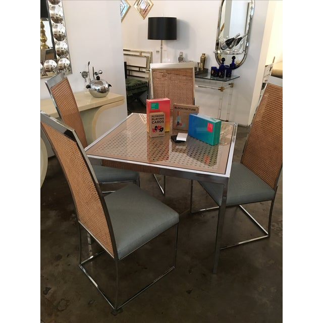 Milo Baughman Vintage Mid-Century Chrome, Glass and Wicker Game Table - Image 4 of 4