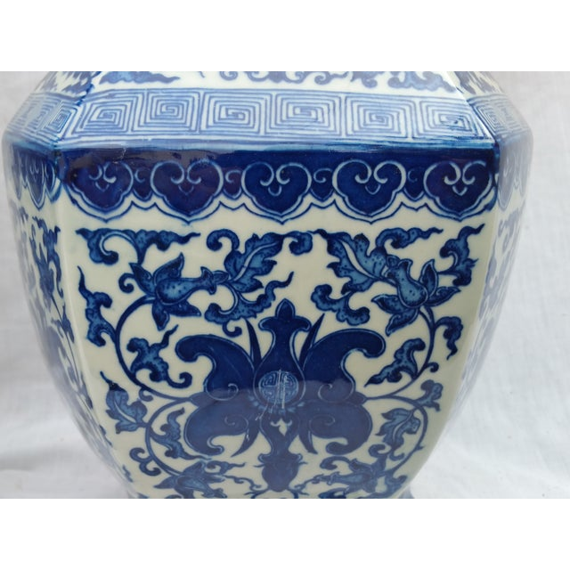 Image of Blue and White Temple Urns - A Pair